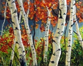 PRINT - Birch and Maple Trees - 8 x 8 Fine Art Reproduction Print
