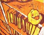 Ducks on a bookcase (woodcut)