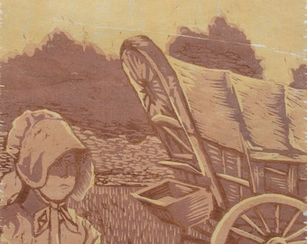 Pioneer Woman (woodcut)