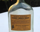 Antique, Pastel Green Colored Jamaica Ginger Bottle with Original OWL DRUG Label (Green208)