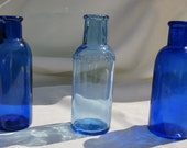 LOT of 3 Cobalt Colored Medicine Bottles (Set195)