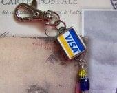 Vintage Typewriter Key Key Chain   VISA