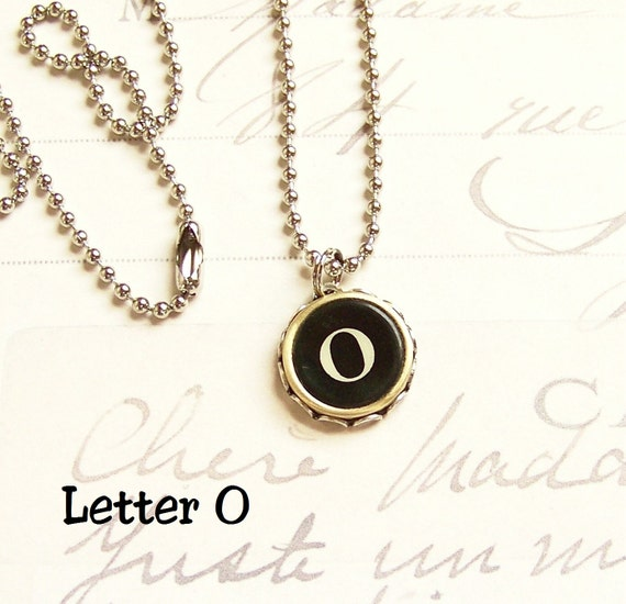 Vintage Typewriter Key Necklace Letter O