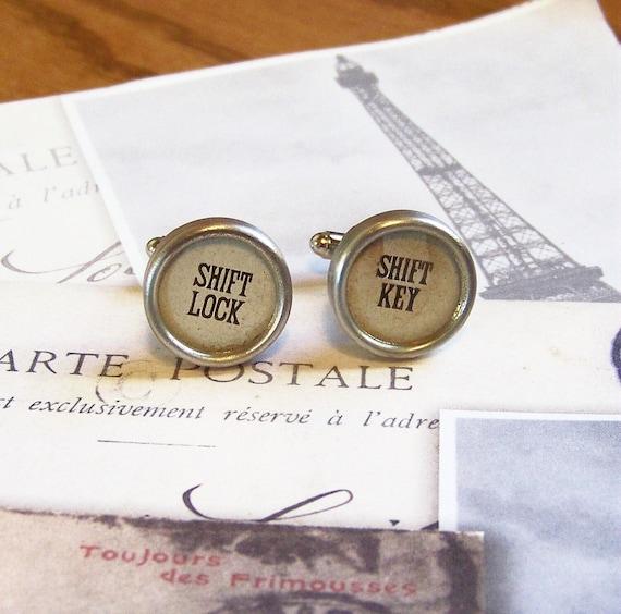 Vintage Typewriter Key Cuff links  Glass Top Keys