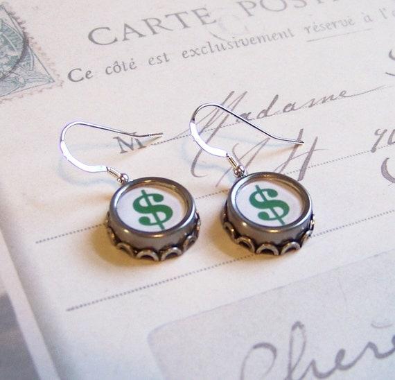 Vintage Typewriter Key Earrings Green Dollar Signs SALE