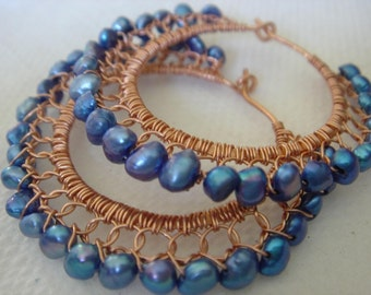 Beautiful Blue Pearls and Copper Wire Wrapped and  Lace Hoop Earrings