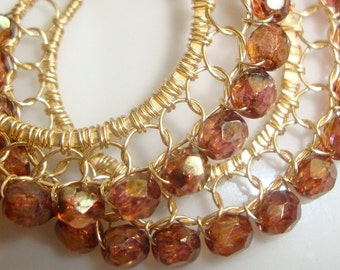 Luster Rose Gold Topaz and Gold Wire Lace Hoop Earrings