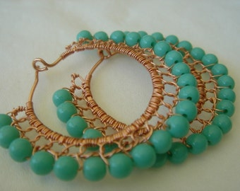 Turquoise Czech Glass and Copper Wire Wrapped Lace Hoop Earrings