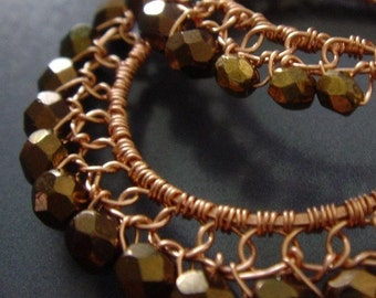 Copper Wire Lace  Hoop Earrings