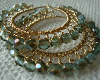 Celsian Aquamarine and Gold Wire laced Hoop Earrings