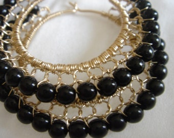 Black and Gold Filled Wire Lace Hoop Earring