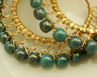 Opaque Teal Blue Picasso Golden Luster Gold Wire Lace Hoop Earrings