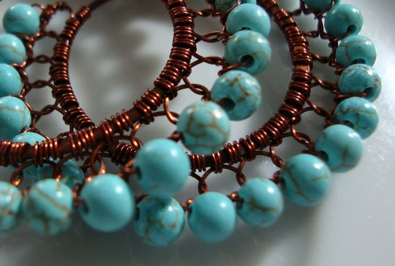 NEW ADDITION Aqua Teal Blue Chinese Turquoise with  Burnt Brown Wire Wrapped Lace Hoop Earrings