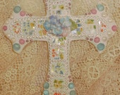 Bubblegum SHABBY COTTAGE CHIC bright floral jeweled cross crucifix