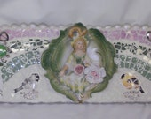 3D SHABBY CHIC cottage door crown Victorian  wall hanging birds apple cherry  blossoms bugs hearts