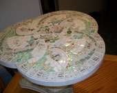 Cottage Chic White Rose Broken China Mosaic Table  Green Depression glass