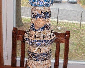 Large BEACH COTTAGE Mosaic Lighthouse blue with shells and glass etsy contemporary art in mosaics
