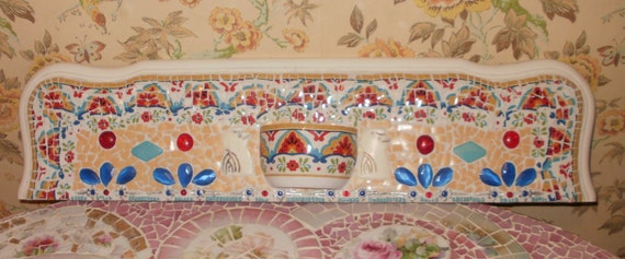 BRIGHT BrOkEn ChINa MoSaIc Door Crown Wall hanging Wall pocket