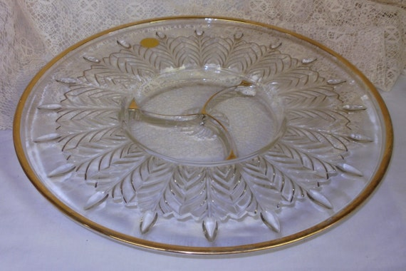 JEANNETTE peacock FEATHER 3 part Relish Dish Platter 13 7/8 inches Gold Trim