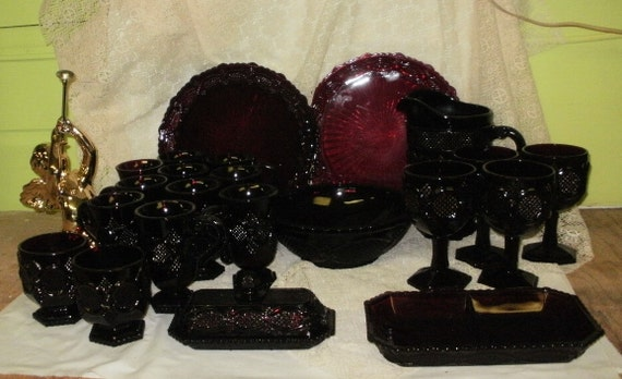 RESERVED for J large set  of  avon ruby red  CAPE COD  glass dinnerware plates mugs goblets butterdish pitcher