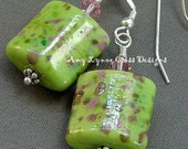 Adorable In Lime Green and Pink Speckles - Earrings Featuring Two Handmade Lampwork Glass Beads by The Craftier Side
