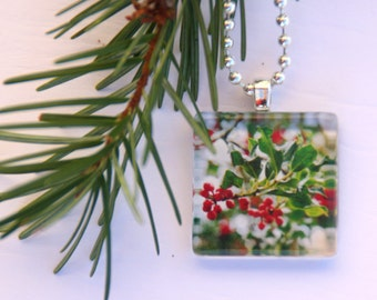 Glass Tile Photo Pendant - Holly in Winter - Red- Green - Winter - Jewelry - Necklace - Original Photography - Gift