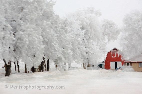 Red Barn in Winter - Christmas - Seasonal - Winter Print - Winter Decor - Red - White - Snow - Fine Art Print - Altered Art - Gift - Xmas