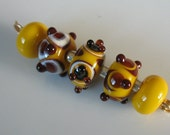 Yellow brown and black lampwork beads-loose beads-glass beads