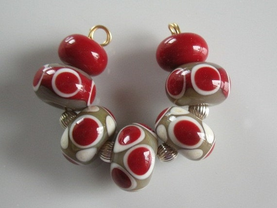 Tan red and ivory lampwork beads-handmade glass beads-loose beads
