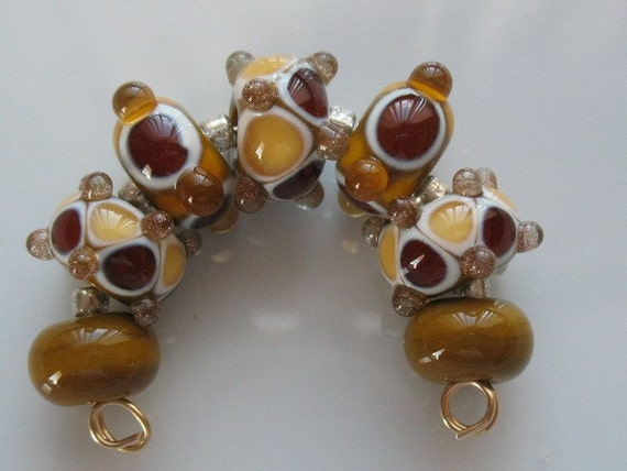 Set of seven handmade lampwork beads in tan-brown and yellow-handmade glass beads-SRA