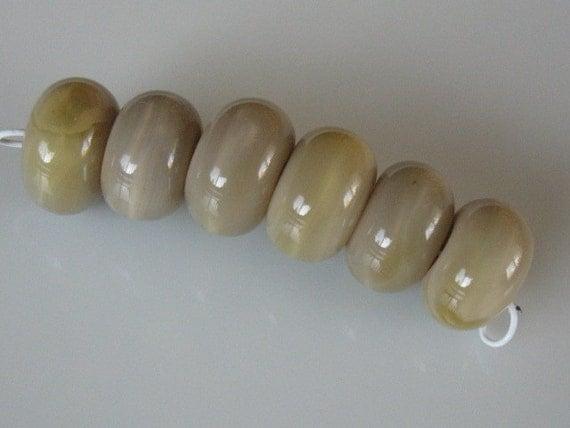 Six shaded tan lampwork beads-10mm glass beads-loose beads-SRA