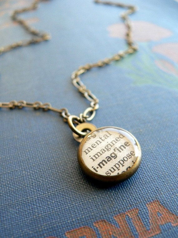 Imagine. vintage brass and resin necklace