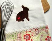 Woodland Bunny Rabbit Embroidered Tea Towel
