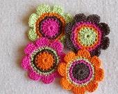 Crochet Flower Appliques-Hot Pink,Wasabi,Brown,Orange (4pcs)