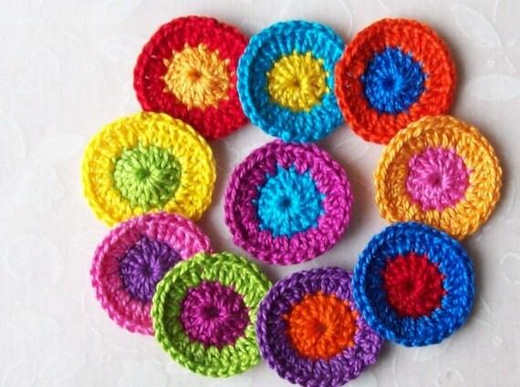 Crochet Circle Appliques-Brite Colors