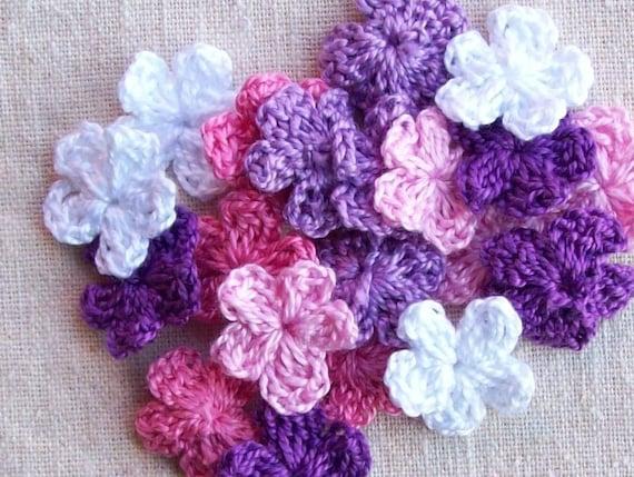 20 FORGET ME NOT Crochet Flower Embellishment Appliques(lot618)