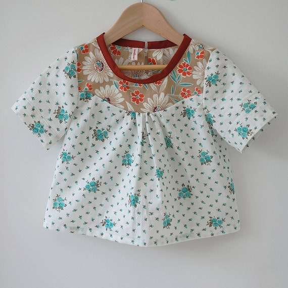 toddler girls top / blouse / tunic floral with vintage fabric yoke size 2T