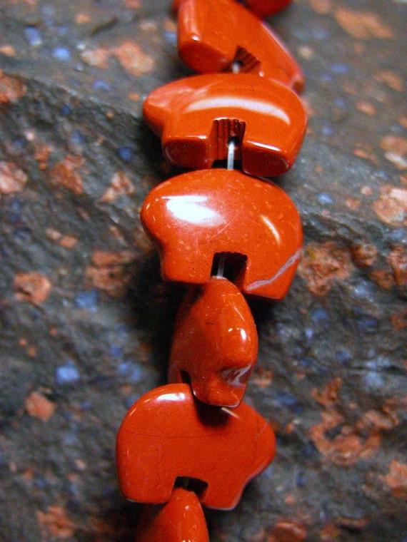 Red Jasper Zuni Bear beads for Earring or Dreamcatchers One Pair
