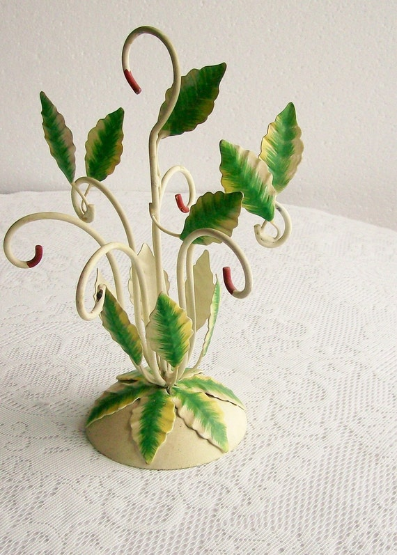 Metal Tole Painted Cup Holder Leaves Italy