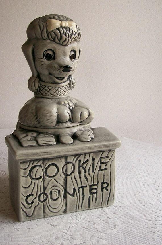 Vintage Ceramic Cookie Jar Twin Winton Poodle Cookie Counter RARE Pottery