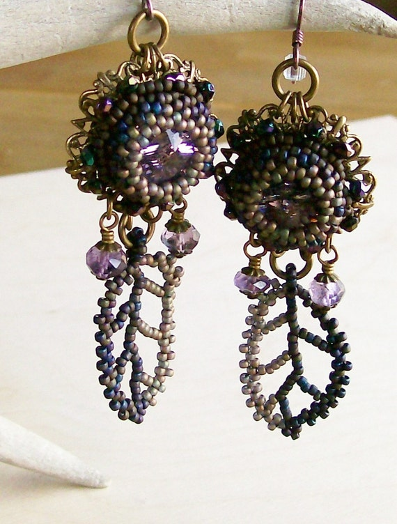 Earrings Beadwoven in Mauves Purples Golds