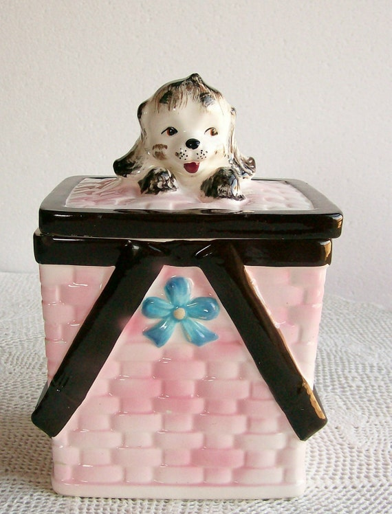 Cookie Jar Vintage Puppy in Basket Made in Japan