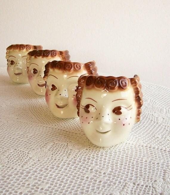 Vintage String Holder Girls Whimsical Cleminsons California Pottery 4 Pcs