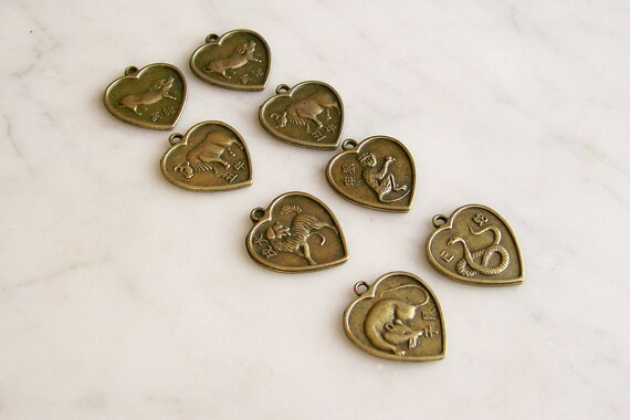 Charms Chinese Zodiac Hearts Brass Jewelry Findings 8 Pcs