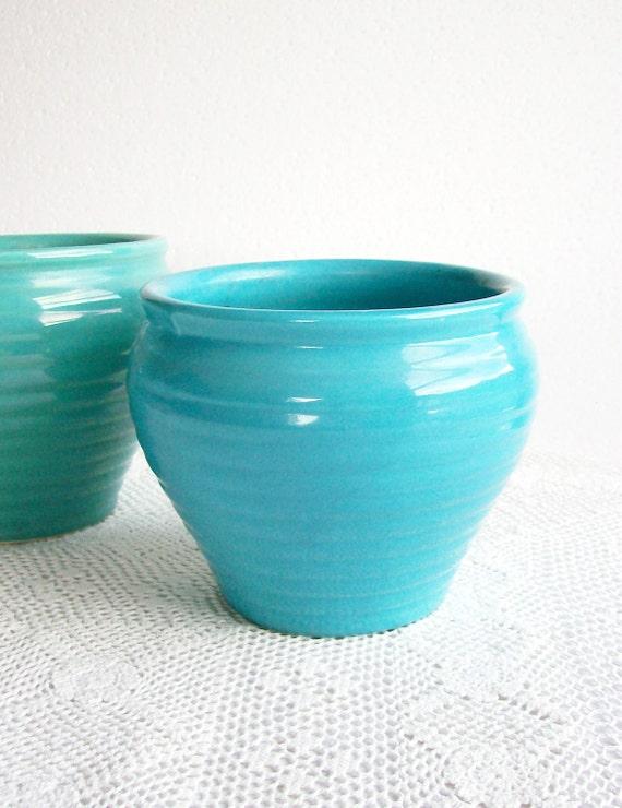 Vintage Planter Jardiniere Ringware Ceramic Beehive Caches Pot 1940s