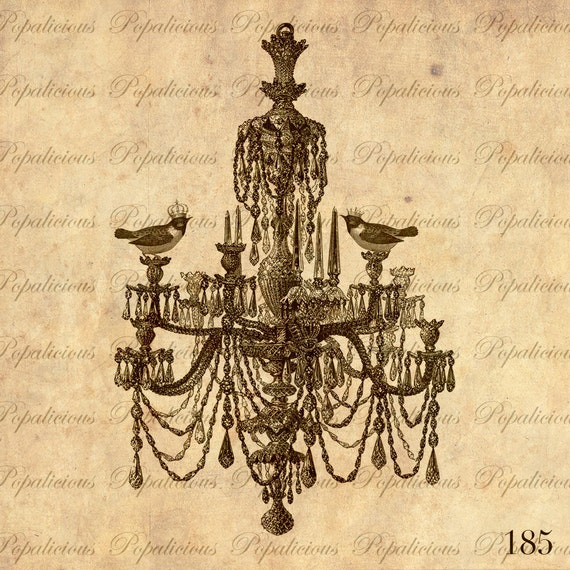 Fabulous Vintage Chandelier with Royal Bird Couple DigitalCollage sheet Download Transfer tote bag, Pillows, Tea Towels and more