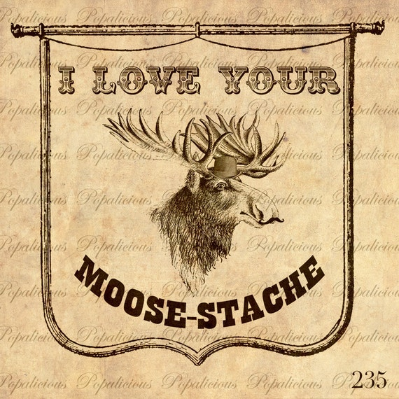 Mustache Moosetache vintage Style Collage Sheet Transfer for Paper Crafts, Pillow, Tea towels and more