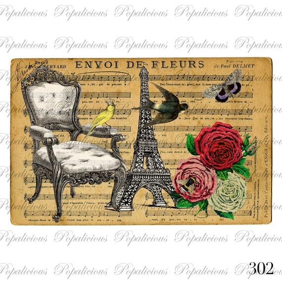 Vintage Style Paris Bird with Royal Chair Post Card Paris collage Digital Download for Tea Towels, Papercraft, Transfer, Pillows and more