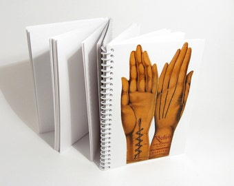 Kids Gloves and Hand Lines Folded 3 Parts Notebook, Spiral, Pocket, Blank Sketchbook, One of a Kind, Spiral Bound Journal, Gifts Under 20