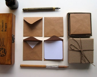Kraft Paper Mini Stationery Set, Blank Note Cards, Small Kraft Square Envelopes, Packaging, Cute, Greetings, Thank You, Gifts Tags Under 15